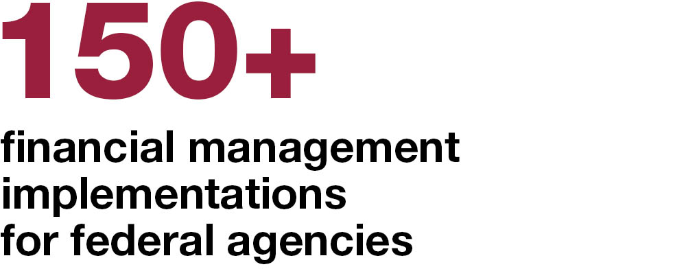 150+ financial management implementations for federal agencies