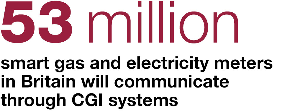 53 million smart gas and electricity meters in Britain will communicate through CGI systems