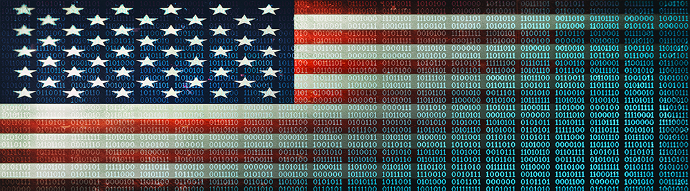 American flag made of binary code