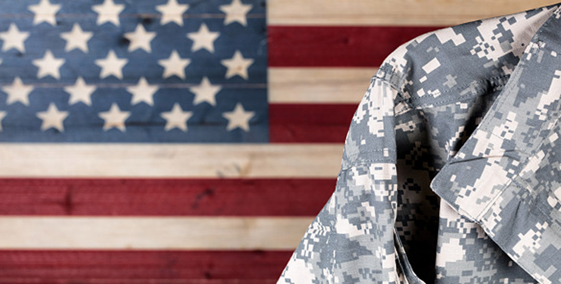 American flag, military uniform