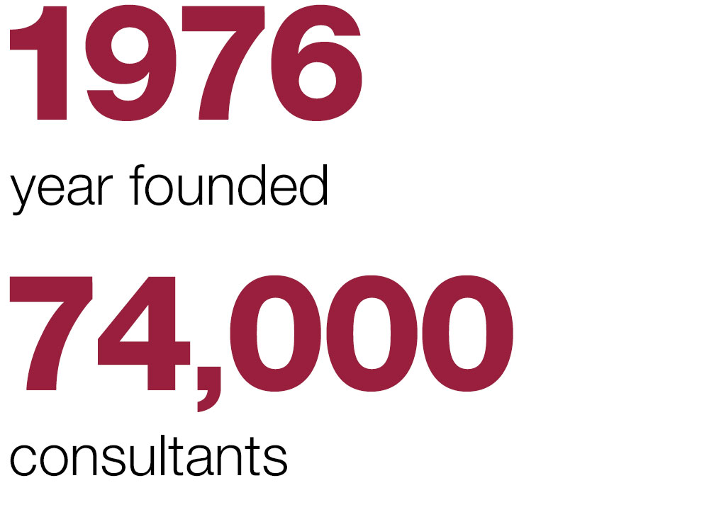 1976 year founded, 74,000 consultants