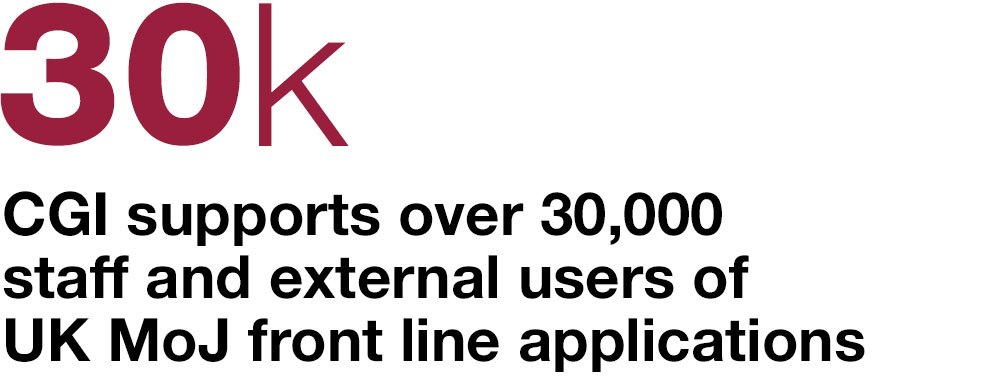 30k CGI supports over 30,000 staff and external users of UK MOJ front line applications