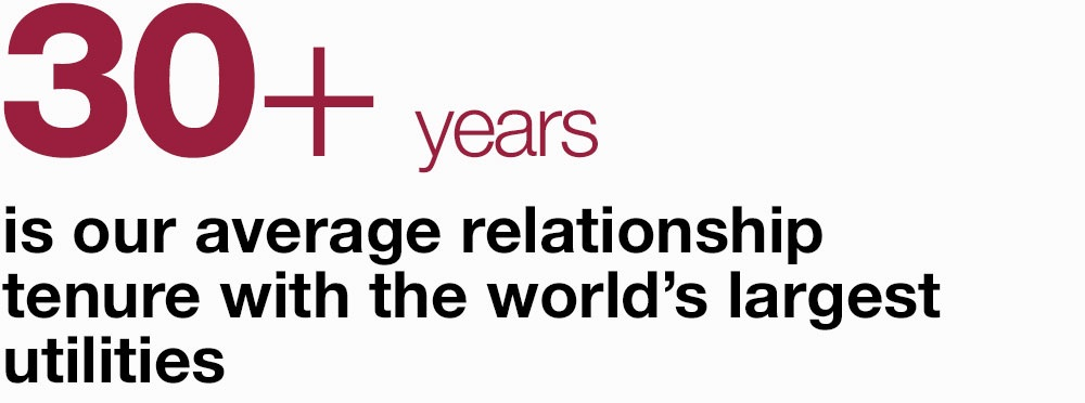 30+ years  is our average relationship tenure with the world's largest utilities
