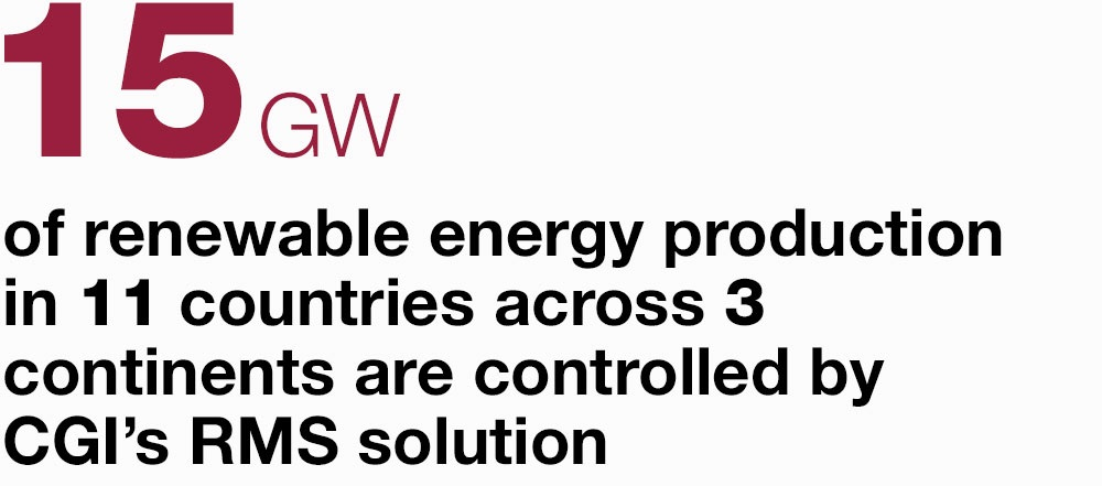 15 GW  of renewable energy production in 11 countries across 3 continents are controlled by CGI's RMS solution