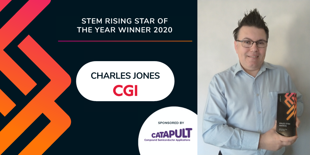 CGI's Charles Jones accepting the Wales STEM Rising Star Award