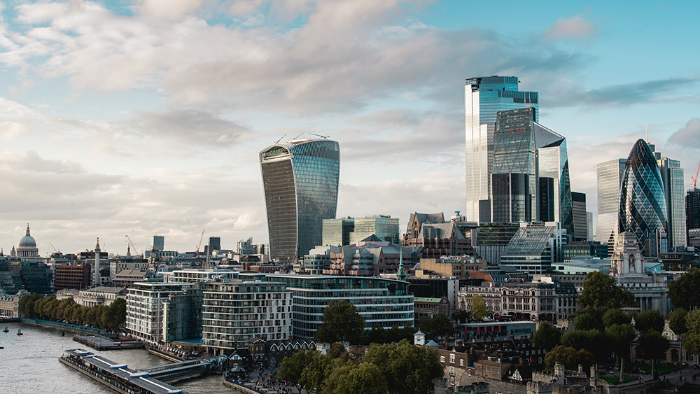 City of London and view of the Walkie Talkie building