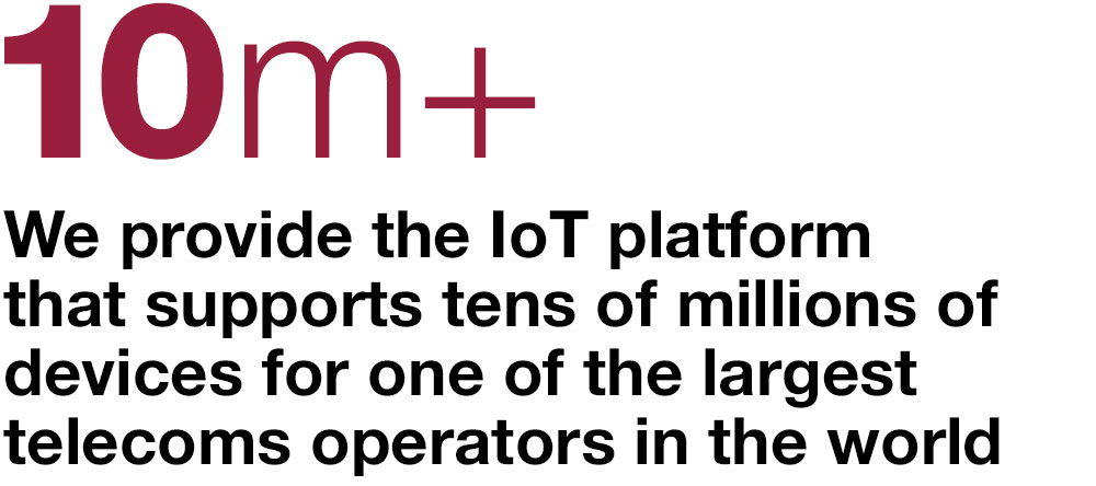10m+ We provide the IOT platform that supports tens of millions of devices for one of the largest telecoms operators in the world