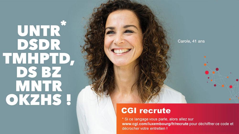 Portrait de Carole pour l'annonce des recrutements 2020 chez CGI au Luxembourg