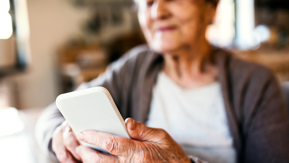 elderly woman with smartphone
