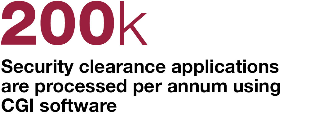200k security clearance applications are processed per annum using CGI software