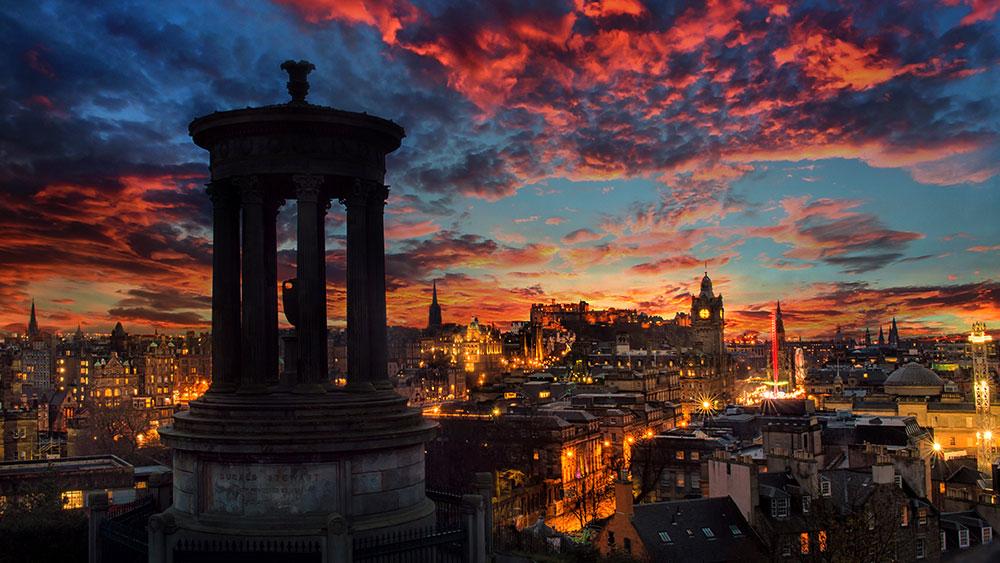 Edinburgh smart city at twilight