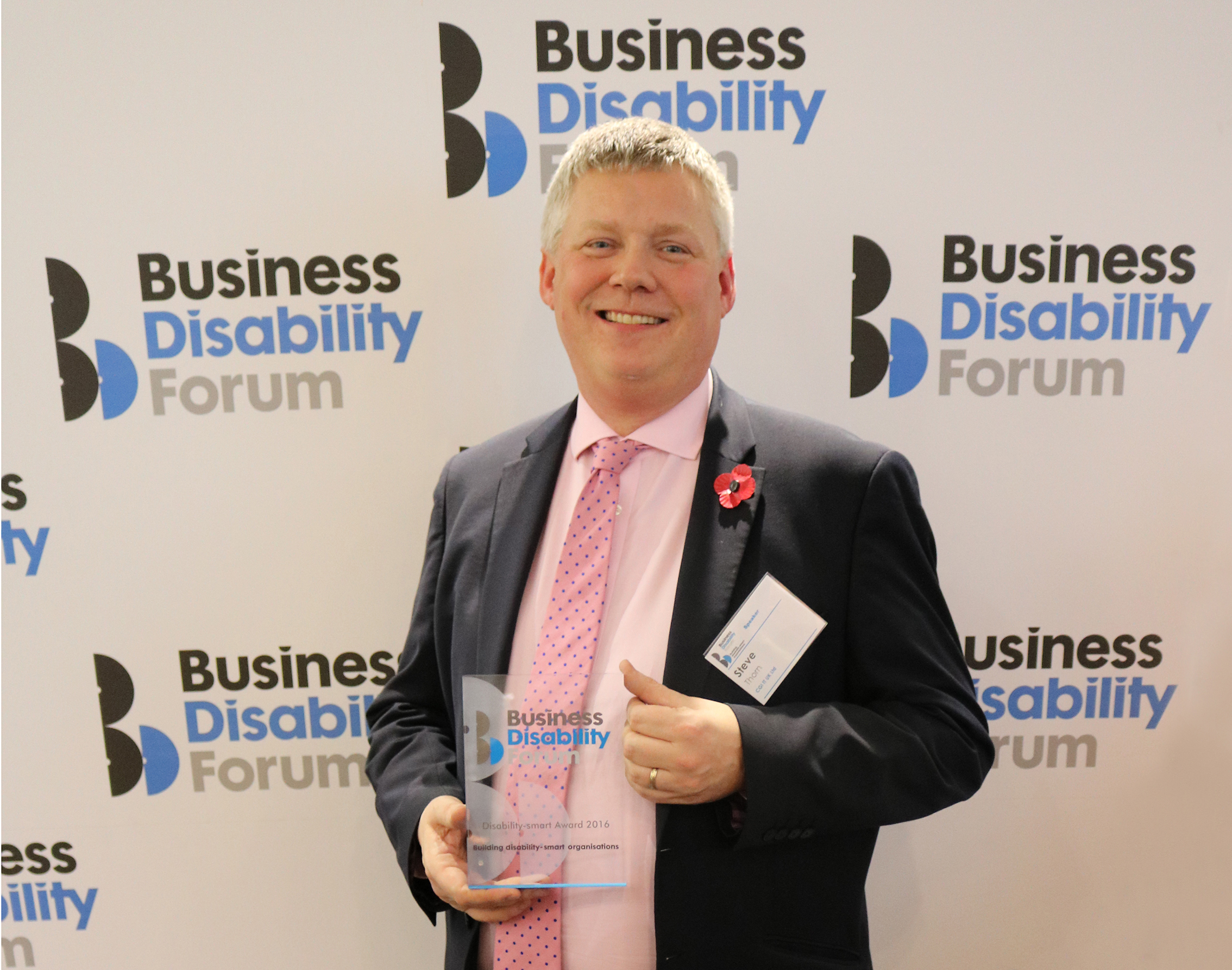 Steve Thorn wins Disability-smart award for his commitment to disability in business