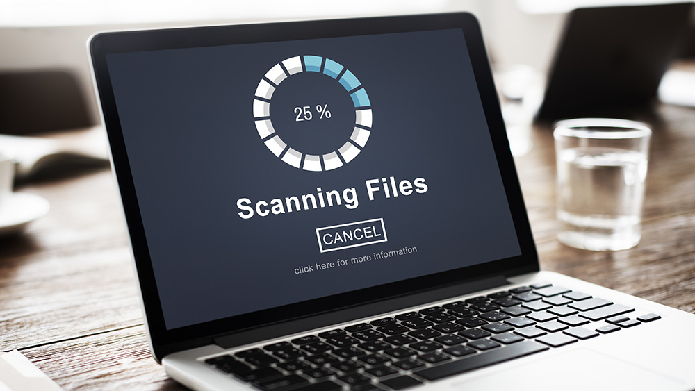 Laptop scanning files with intelligent automation