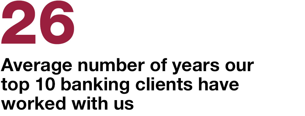 26 average number of years our top 10 banking clients have worked with us