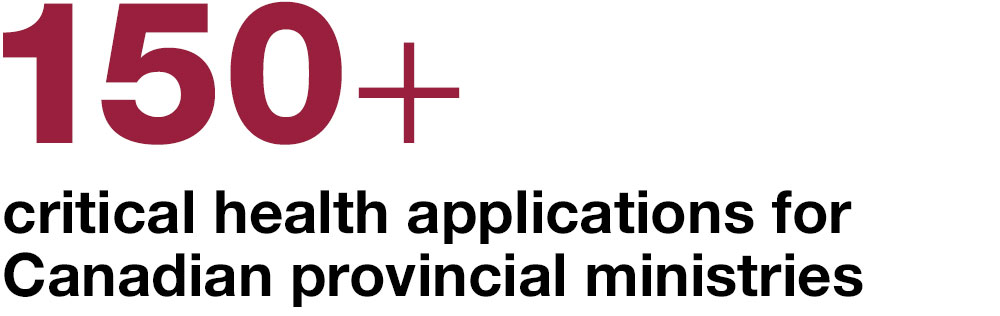 150+ critical health applications  for Canadian provincial  ministries