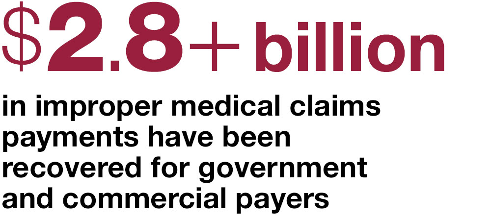 $2.8+ billion in improper medical claims  payments have been  recovered for government  and commercial payers