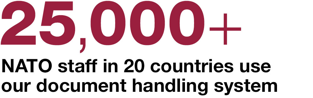 25,000+ NATO staff in 20 countries  use our document  handling system