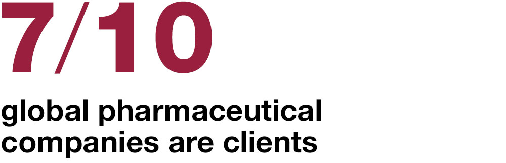 7 of the top 10 global pharmaceutical  companies are clients