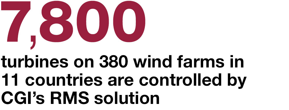 7,800  turbines on 380 wind farms in 11 countries are controlled by CGI's RMS solution