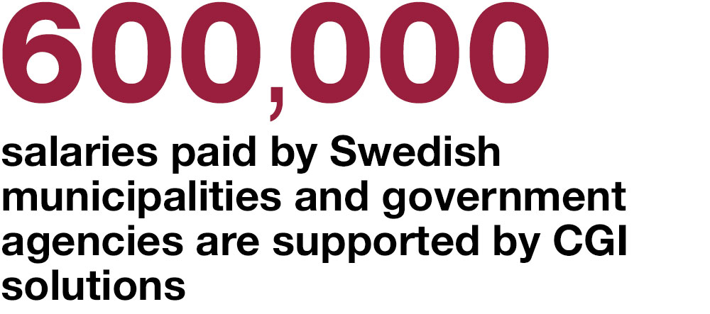 600,000 salaries paid by  Swedish municipalities and government agencies are supported by CGI solutions