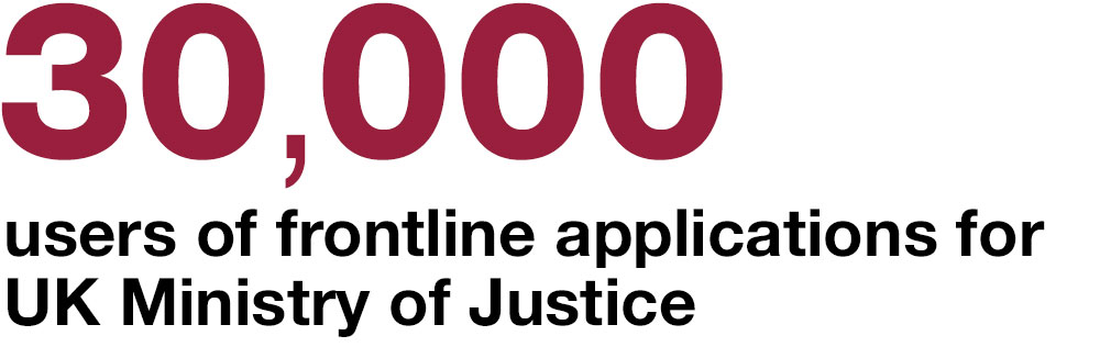 30,000 users of frontline applications for UK Ministry of Justice