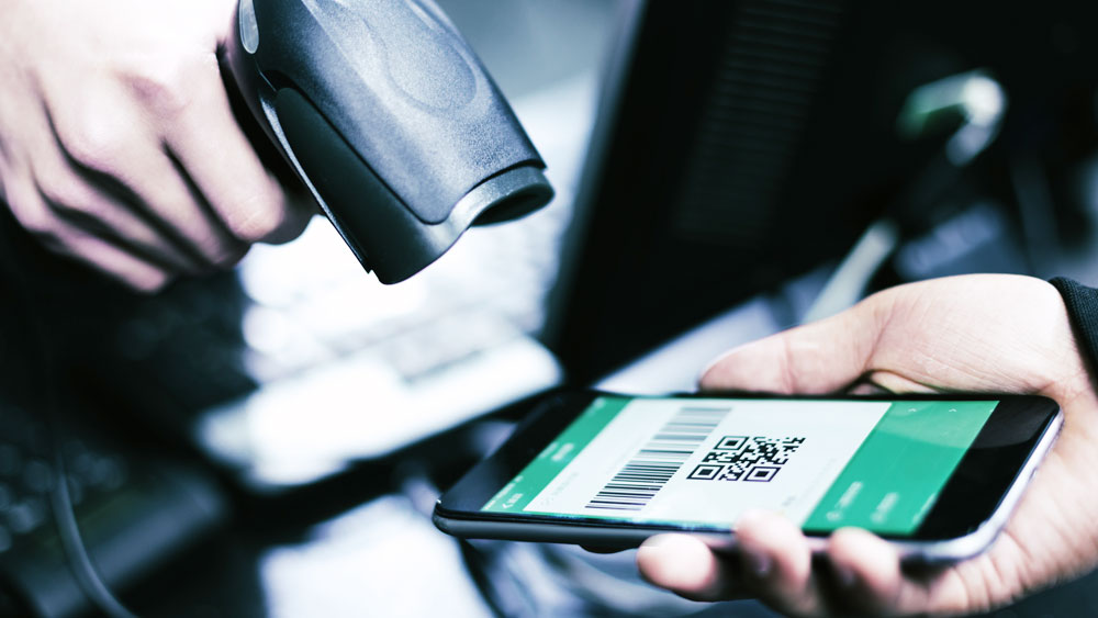 Barcode scanner scanning the barcode in mobile