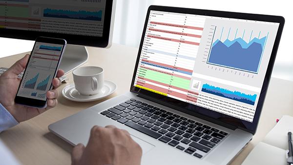 data analytics on computer screen