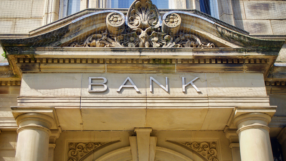Front of an old, imposing bank building