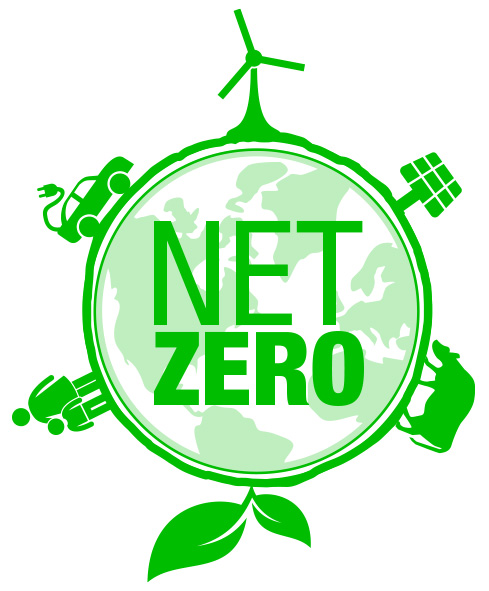 Circular infographic with text net zero in the centre surrounded by green energy icons