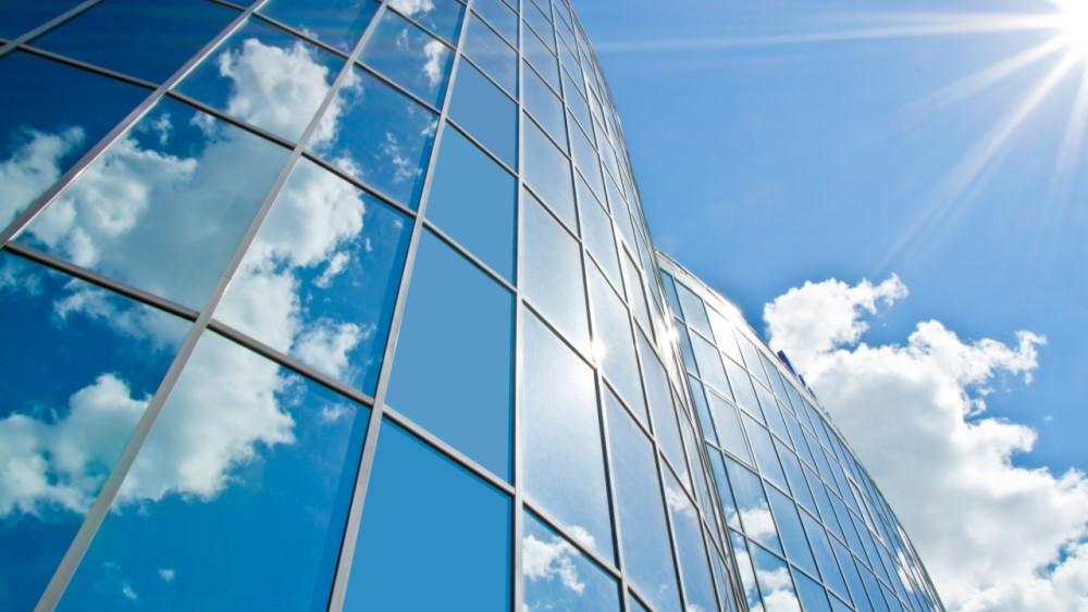 office building and cloudscape