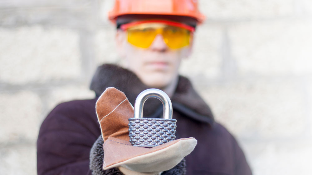 hard hat worker with lock