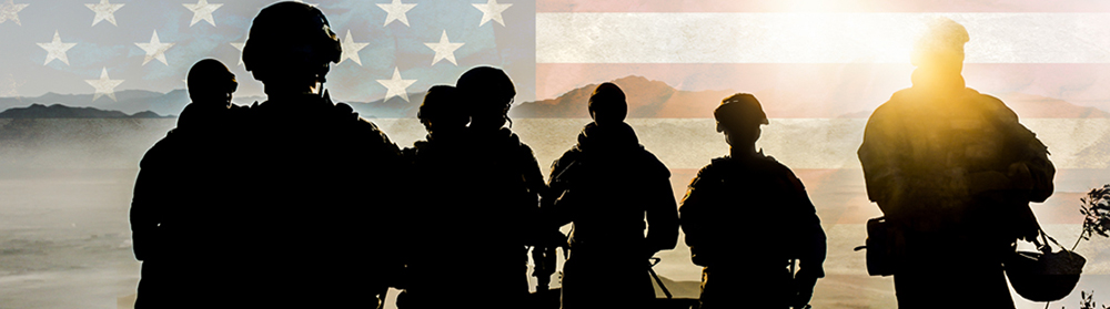 Soldiers on patrol, American flag