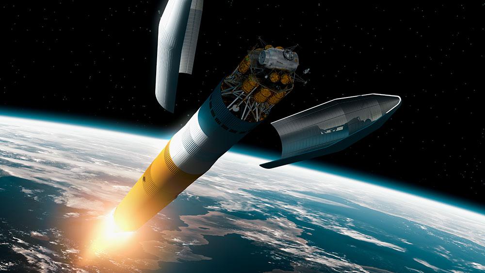 rocket over earth