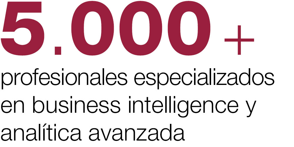 5.000+ profesionales especializados en business intelligence y analitica avanzada