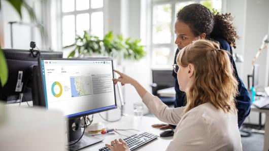 Two women viewing CGI Advantage Grantor on computer screen