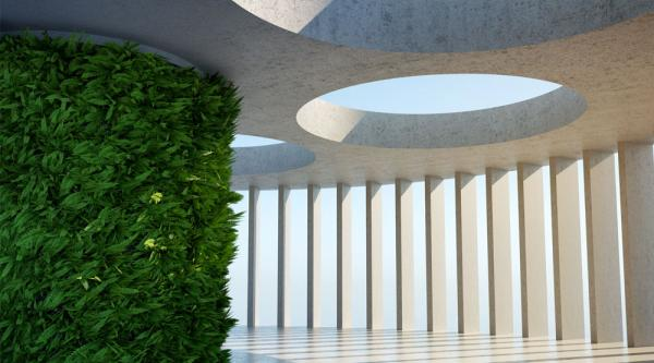 Modern architectural design with green plants in the middle and concrete pillars