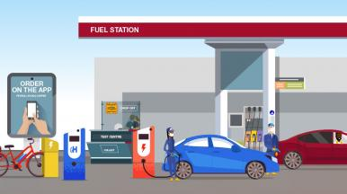 Cartoon scene of a customer's journey from home to a fuel station and the services they use while there.