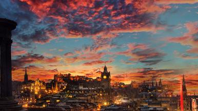 Edinburgh smart city at twilight