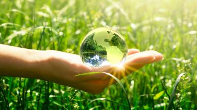 Female hand holding a transparent globe in the middle of a grass meadow in the full sunshine