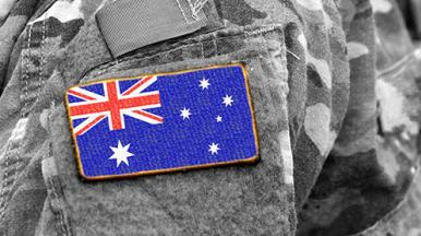 Australian soldier and Australian Army Research Centre logo
