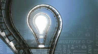 spiral staircase that looks like a lightbulb representing business agility