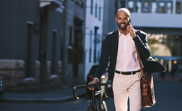 consultant going to office with bicycle