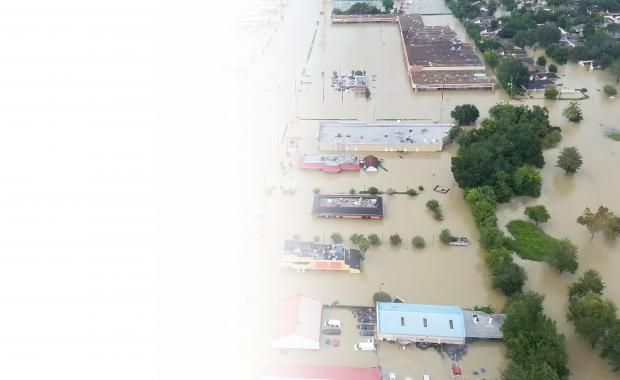 floodwaters in a town