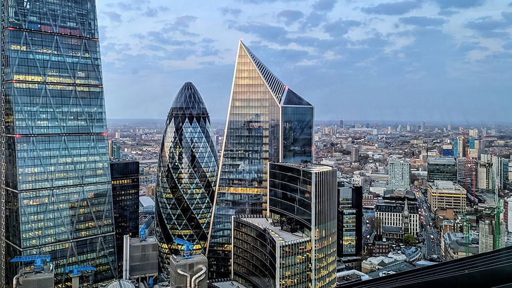 Image of London's skyscrapers landscape, including the gerkin building