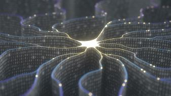3D illustration of artificial neuron in concept of artificial intelligence
