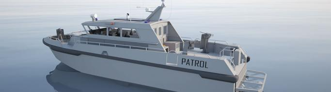 UK Royal Navy high-speed patrol craft in open water