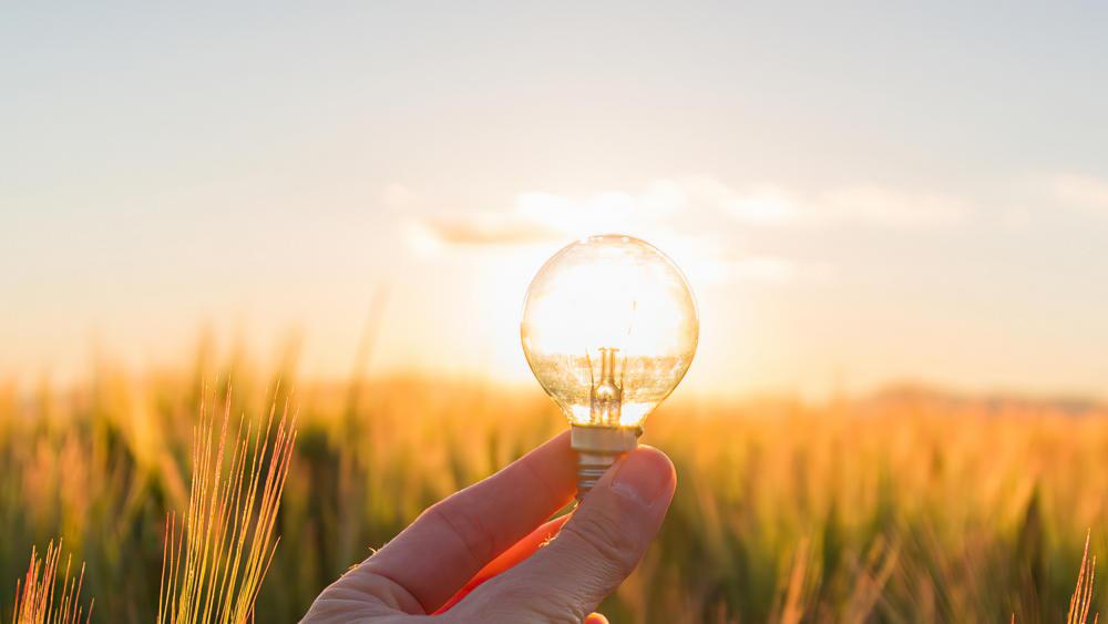 energy innovation concept hand with lightbulb
